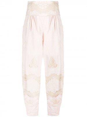 Зауженные брюки с ажурными вставками Alberta Ferretti. Цвет: розовый