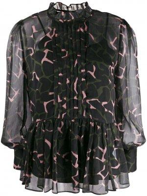 Блузка с камуфляжным принтом Emporio Armani. Цвет: черный