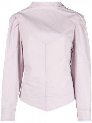 Блузка с объемными рукавами и высоким воротником Isabel Marant. Цвет: фиолетовый