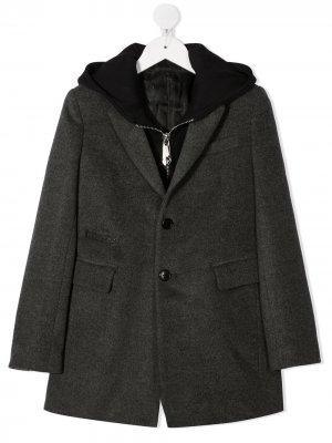 Пальто-пиджак с капюшоном Philipp Plein Junior. Цвет: серый