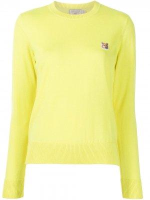 Пуловер с нашивкой-логотипом Maison Kitsuné. Цвет: желтый