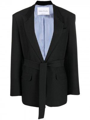 Пиджак с поясом Hebe Studio. Цвет: черный
