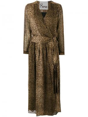 Abramovich chetah printed dress 8pm. Цвет: коричневый