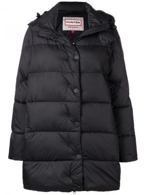 Удлиненная куртка с капюшоном Hunter. Цвет: черный