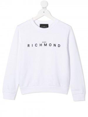 Толстовка с логотипом John Richmond Junior. Цвет: белый