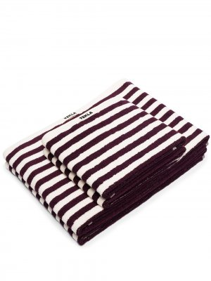Набор полосатых полотенец TEKLA. Цвет: красный
