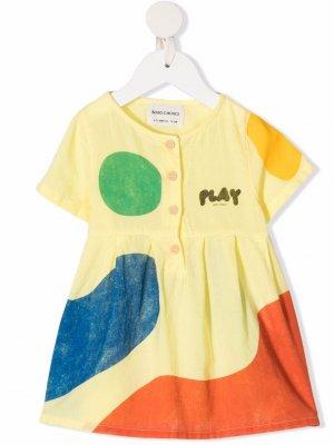 Платье с короткими рукавами и графичным принтом Bobo Choses. Цвет: желтый