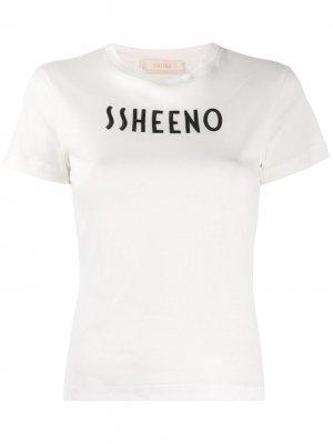 Футболка узкого кроя с логотипом Ssheena. Цвет: белый