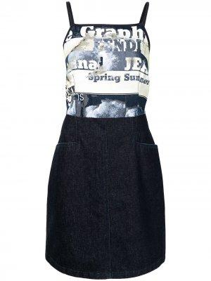Джинсовое платье с логотипом Fendi Pre-Owned. Цвет: синий