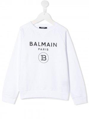 Толстовка с логотипом Balmain Kids. Цвет: белый