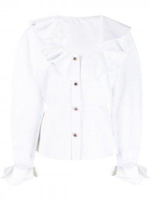 Блузка с кристаллами и оборками Christopher Kane. Цвет: белый