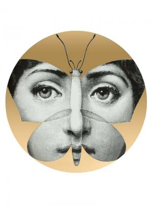 Тарелка с принтом лица в форме бабочки Fornasetti. Цвет: золотистый
