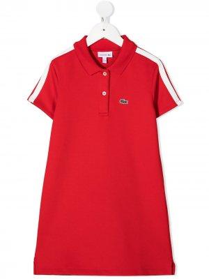 Платье поло с вышитым логотипом Lacoste Kids. Цвет: красный