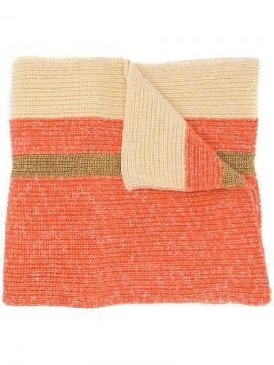 Объемный шарф с полосками Cashmere In Love. Цвет: оранжевый