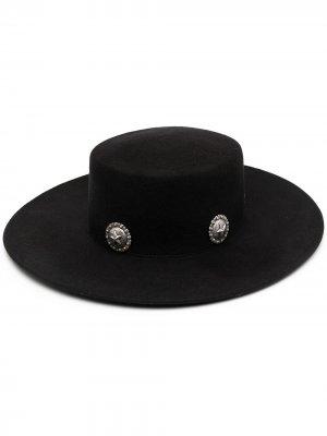 Шляпа с декоративными заклепками Kate Cate. Цвет: черный