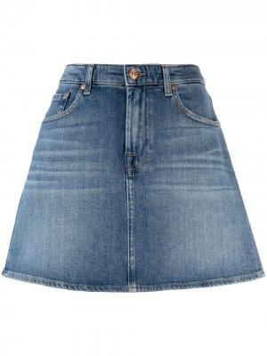 Джинсовая юбка с завышенной талией 7 For All Mankind. Цвет: синий