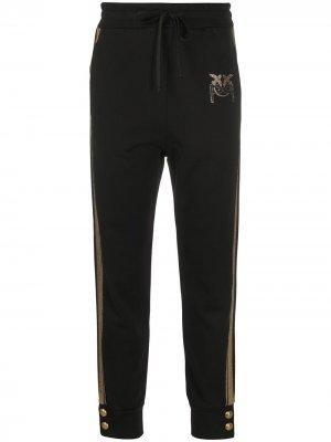 Декорированные спортивные брюки с логотипом Pinko. Цвет: черный