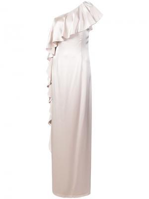 Платье макси на одно плечо с оборками Zac Posen. Цвет: нейтральные цвета