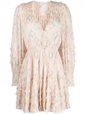 Платье с оборками Ulla Johnson. Цвет: нейтральные цвета