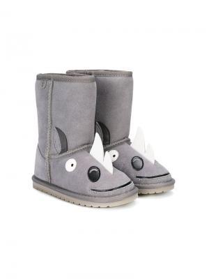 Сапоги в виде носорогов Emu Kids. Цвет: серый