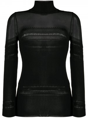 Облегающий джемпер с прозрачными вставками Paco Rabanne. Цвет: черный