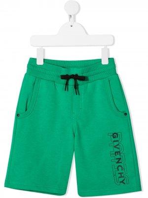 Шорты с кулиской и логотипом Givenchy Kids. Цвет: зеленый