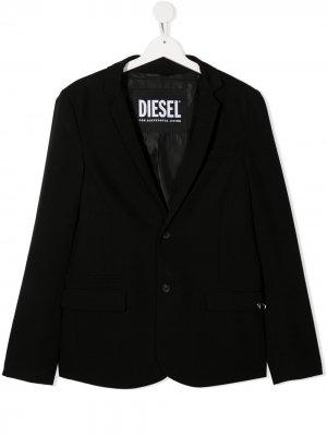 Однобортный блейзер Diesel Kids. Цвет: черный