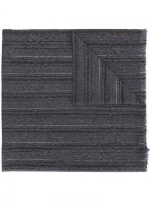 Embroidered knitted scarf Ermenegildo Zegna. Цвет: серый