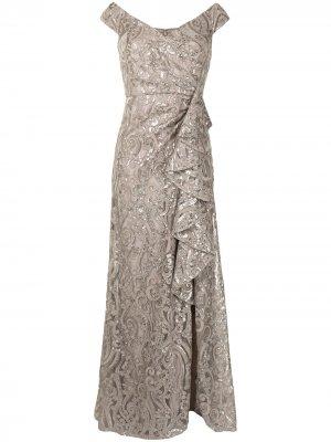Платье Audre с эффектом металлик Tadashi Shoji. Цвет: золотистый