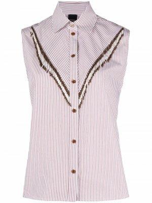 Рубашка с бисером Pinko. Цвет: белый