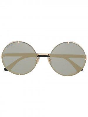 Солнцезащитные очки в круглой оправе с блестками Jimmy Choo Eyewear. Цвет: черный