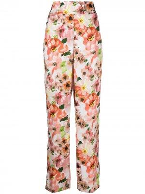 Расклешенные брюки с цветочным принтом Patrizia Pepe. Цвет: розовый