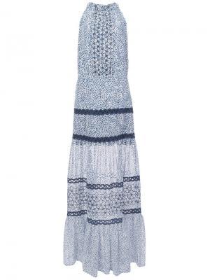 Платье Bel с вышивкой Alexis. Цвет: синий