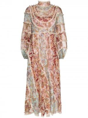 Платье Ladybeetle с принтом и оборками Zimmermann. Цвет: розовый