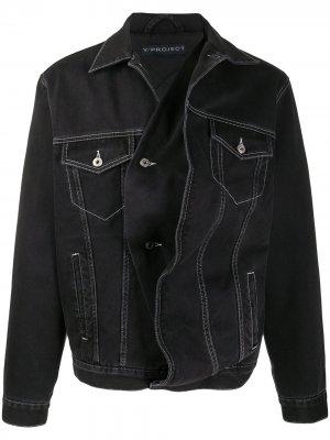 Джинсовая куртка с драпировкой Y/Project. Цвет: черный