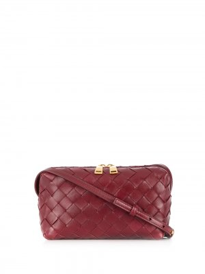 Сумка через плечо с плетением Intrecciato Bottega Veneta. Цвет: красный