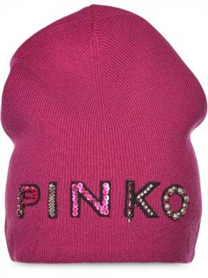 Шапка бини с логотипом Pinko. Цвет: розовый