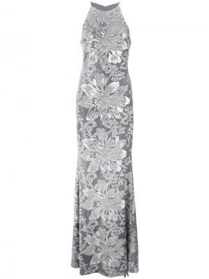 Платье с вышивкой и пайетками Badgley Mischka. Цвет: металлический