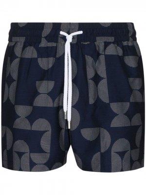 Плавки-шорты с геометричным узором Frescobol Carioca. Цвет: синий