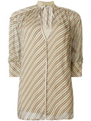 V-neck striped blouse By Malene Birger. Цвет: нейтральные цвета