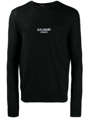 Свитер с логотипом вязки интарсия Balmain. Цвет: черный