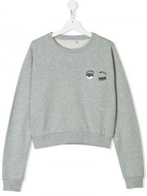 Wink face sweatshirt Chiara Ferragni Kids. Цвет: серый