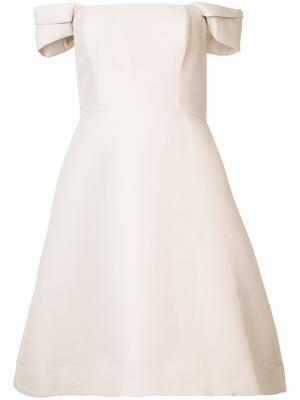 Приталенное платье с открытыми плечами Halston Heritage. Цвет: розовый и фиолетовый