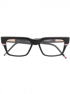 Очки в прямоугольной оправе с полосками RWB Thom Browne Eyewear. Цвет: черный