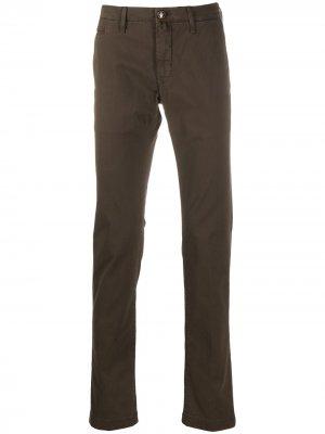 Саржевые брюки кроя слим Jacob Cohen. Цвет: коричневый