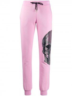 Брюки с декором Skull Philipp Plein. Цвет: розовый