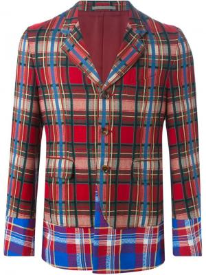 Пиджак с комбинированным узором в клетку Comme Des Garçons Pre-Owned. Цвет: красный