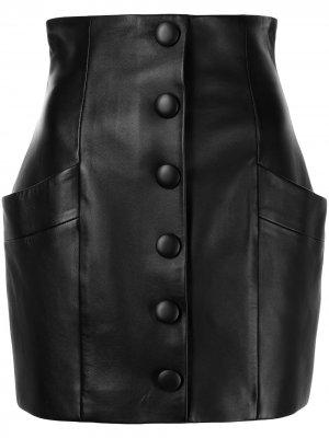 Кожаная мини-юбка с завышенной талией Balmain. Цвет: черный