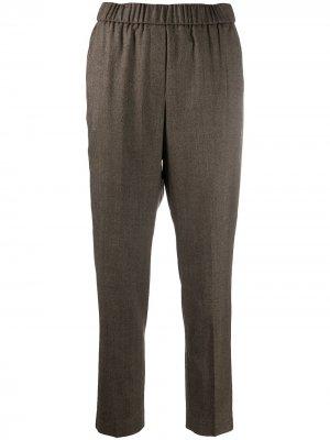 Укороченные брюки с бисером Peserico. Цвет: коричневый