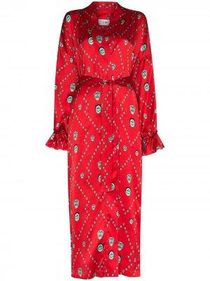 Халат-кимоно с принтом Kirin. Цвет: красный